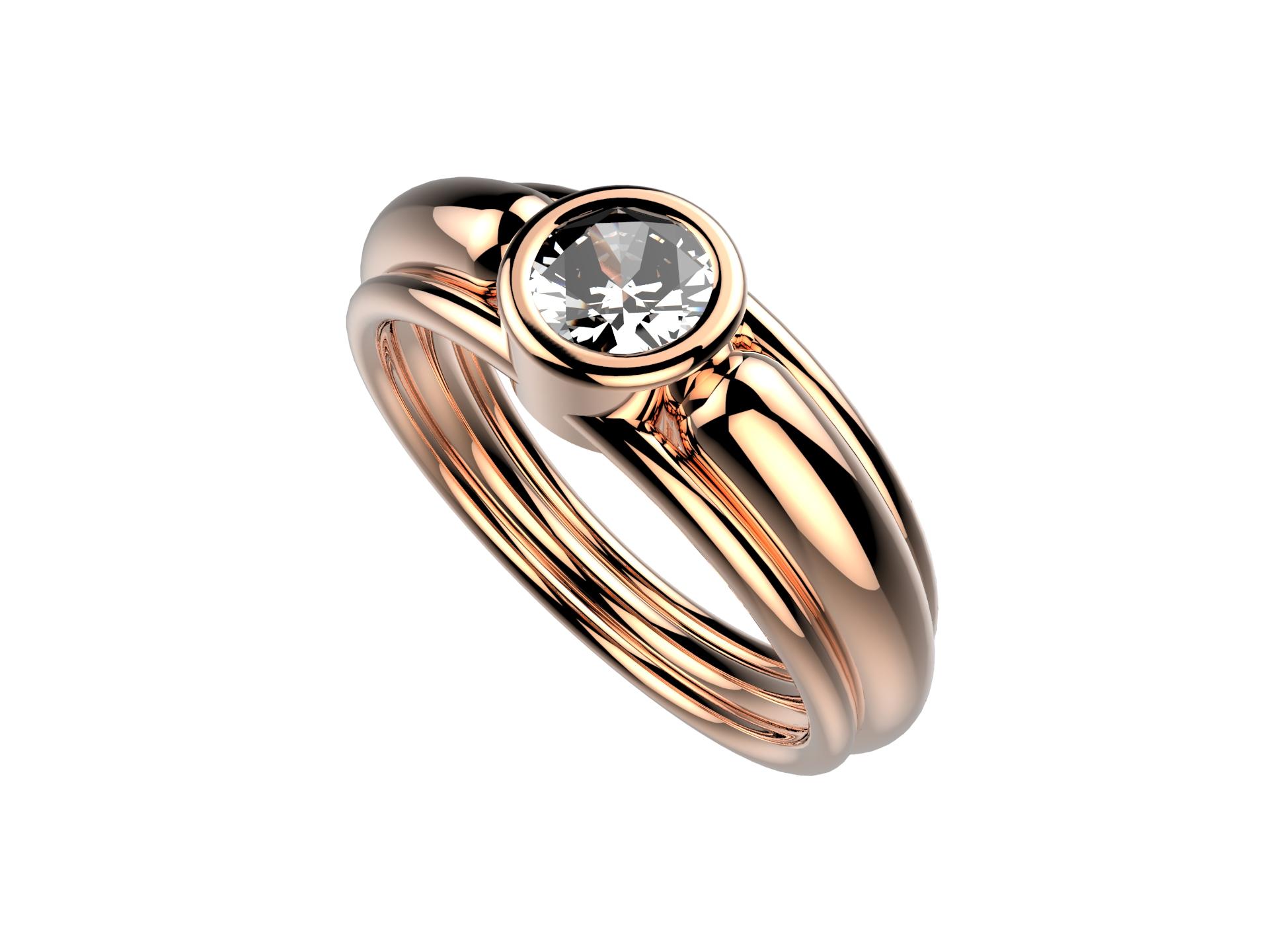 Solitaire or rose diamant - 4100 €