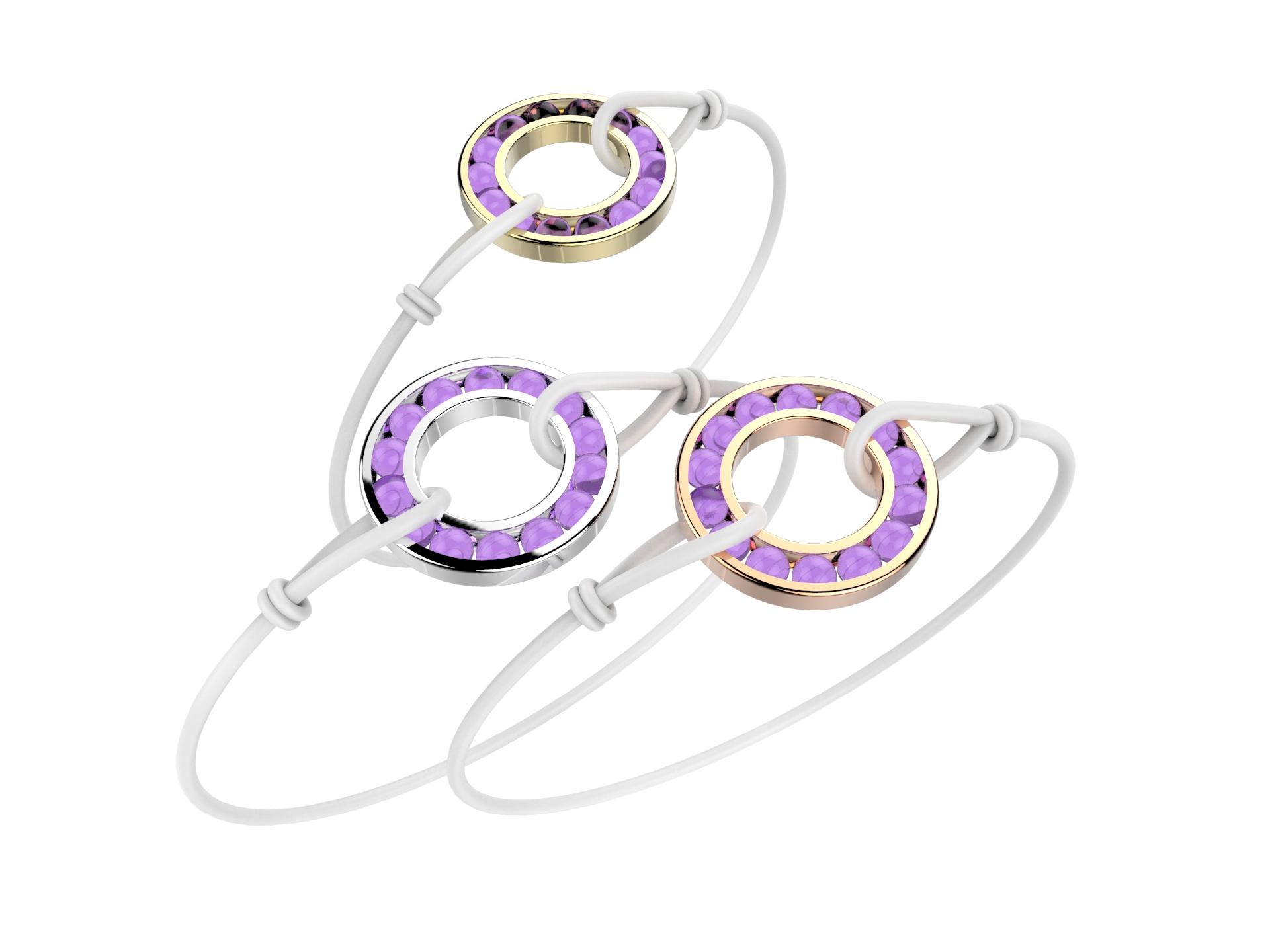 Bracelet or cordon améthyste 490 €