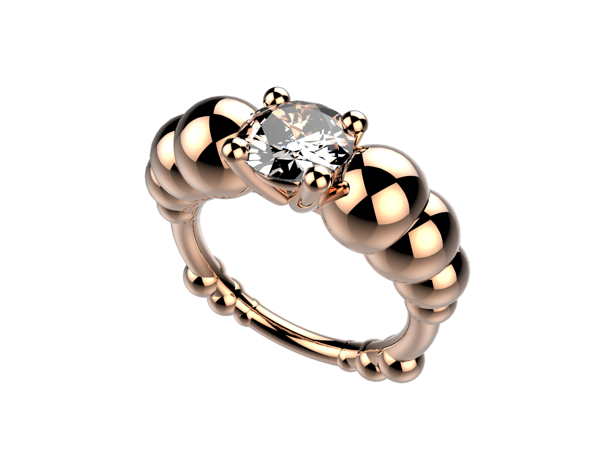 Solitaire or rose diamant - 11620 €