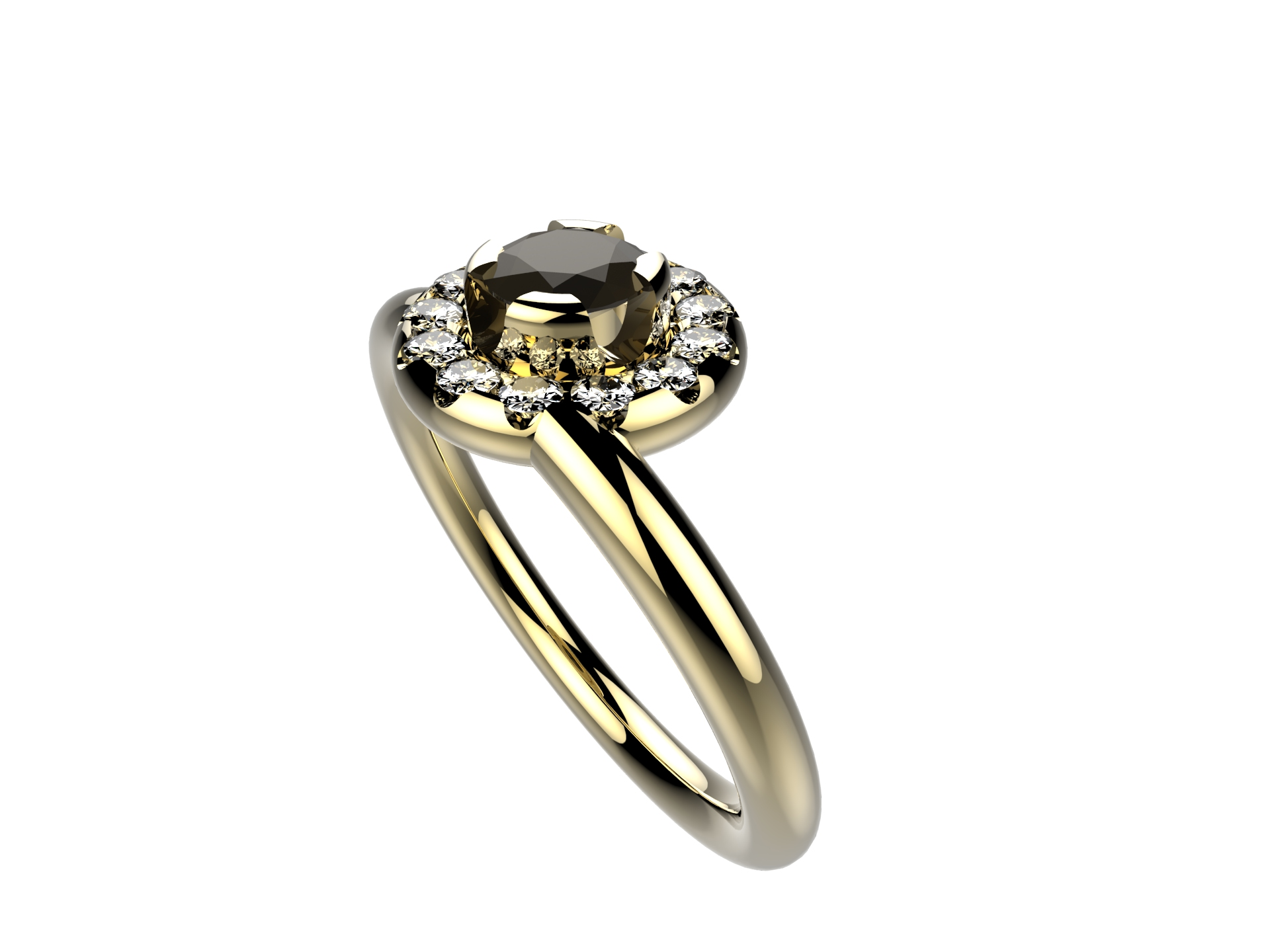 Bague or jaune diamant noir 2680