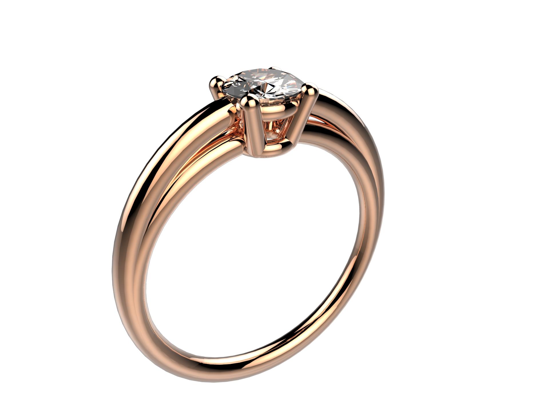 Solitaire or rose diamant - 3650 €