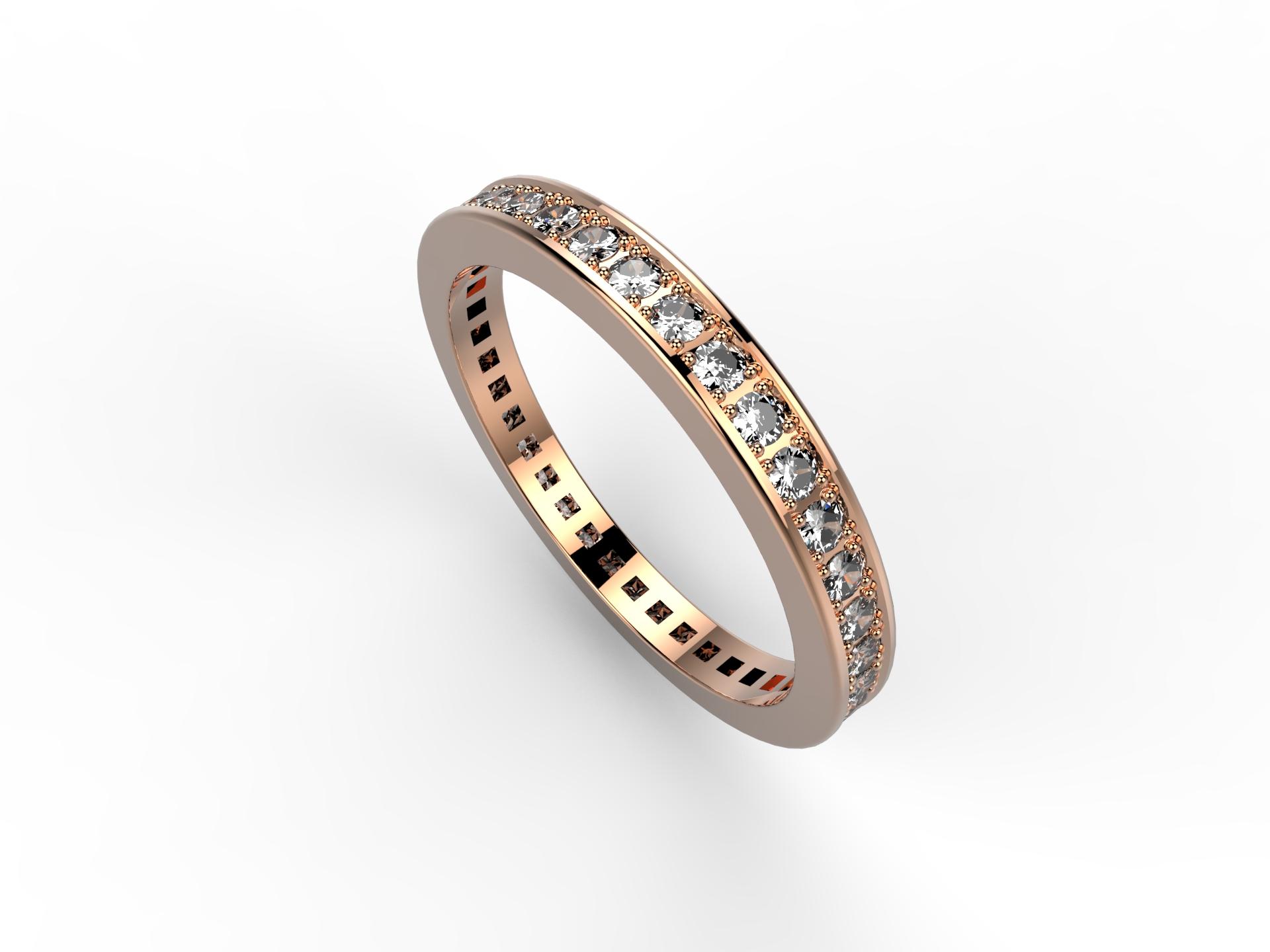 Alliance or rose et diamants 1800 €