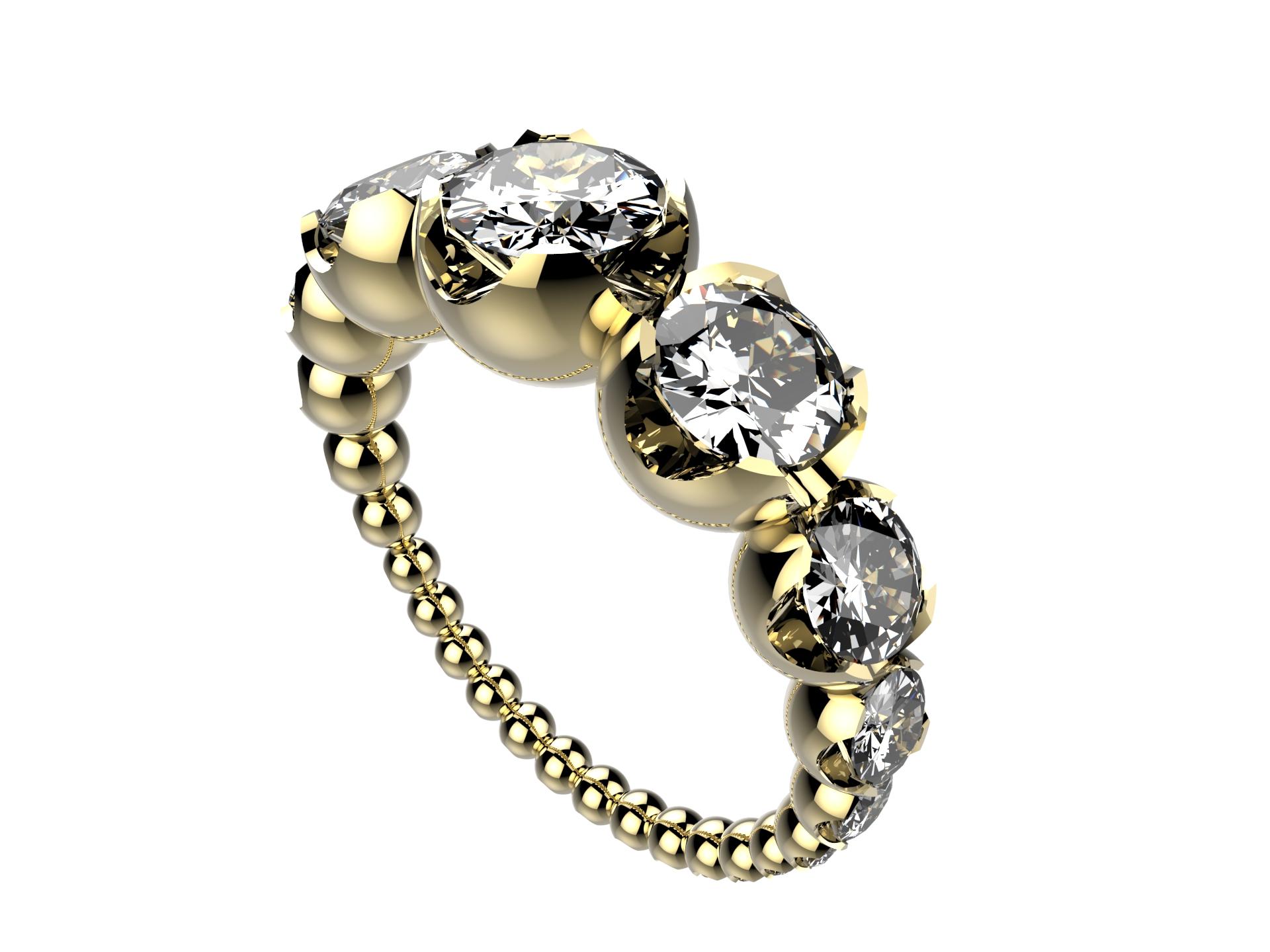 Solitaire or jaune diamants - 8110 €