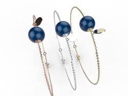 Bracelet or perle agate bleue 305 €