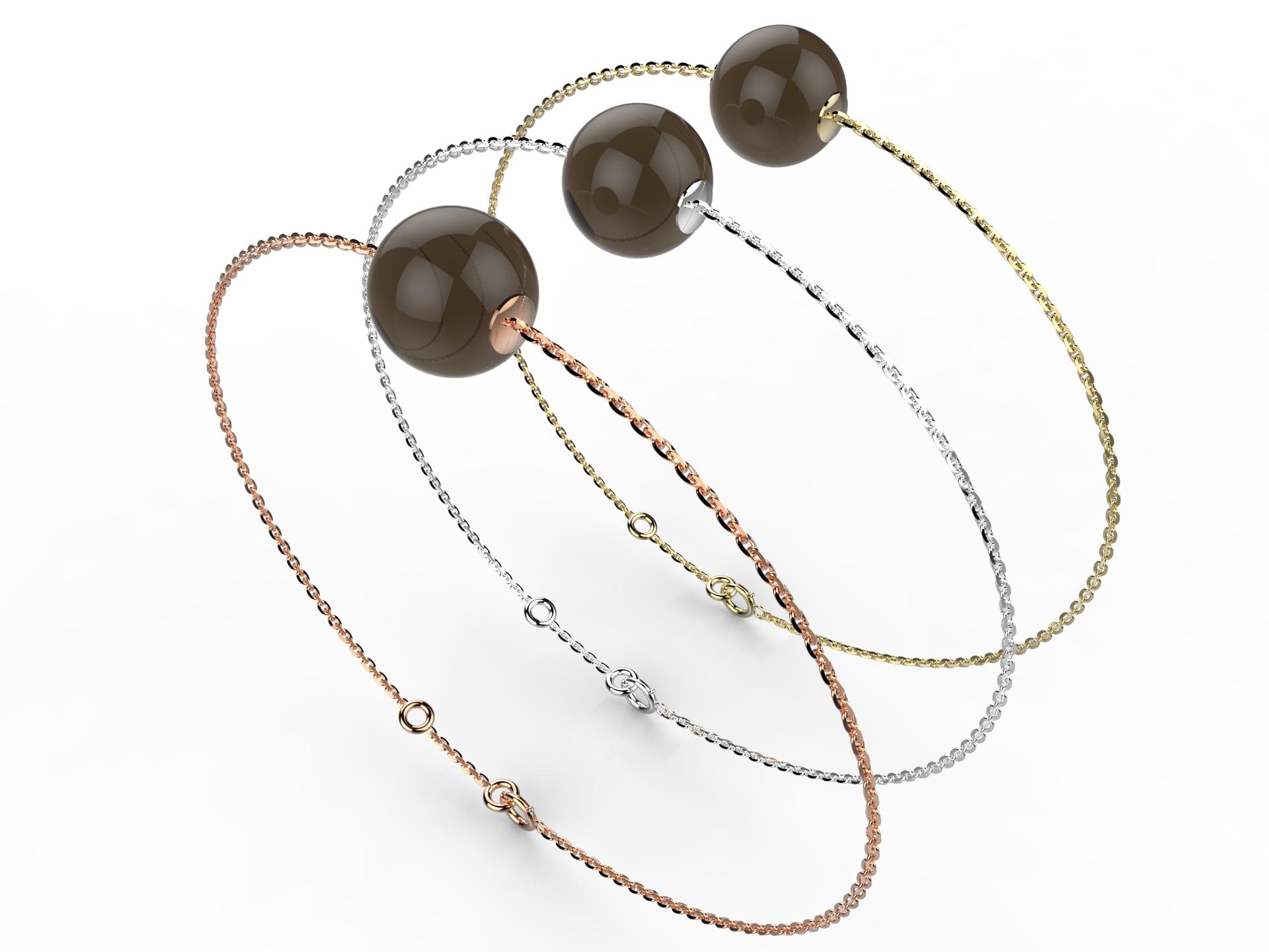 Bracelet or perle quartz fumé 280 €