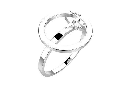 """Bague Névé """"Cercle étoilé"""" Or et Diamant"""