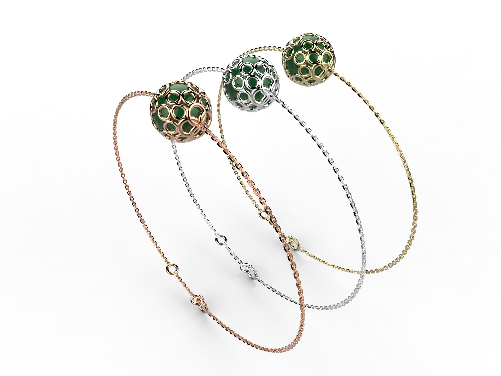 Bracelet or perle agate verte 350 €