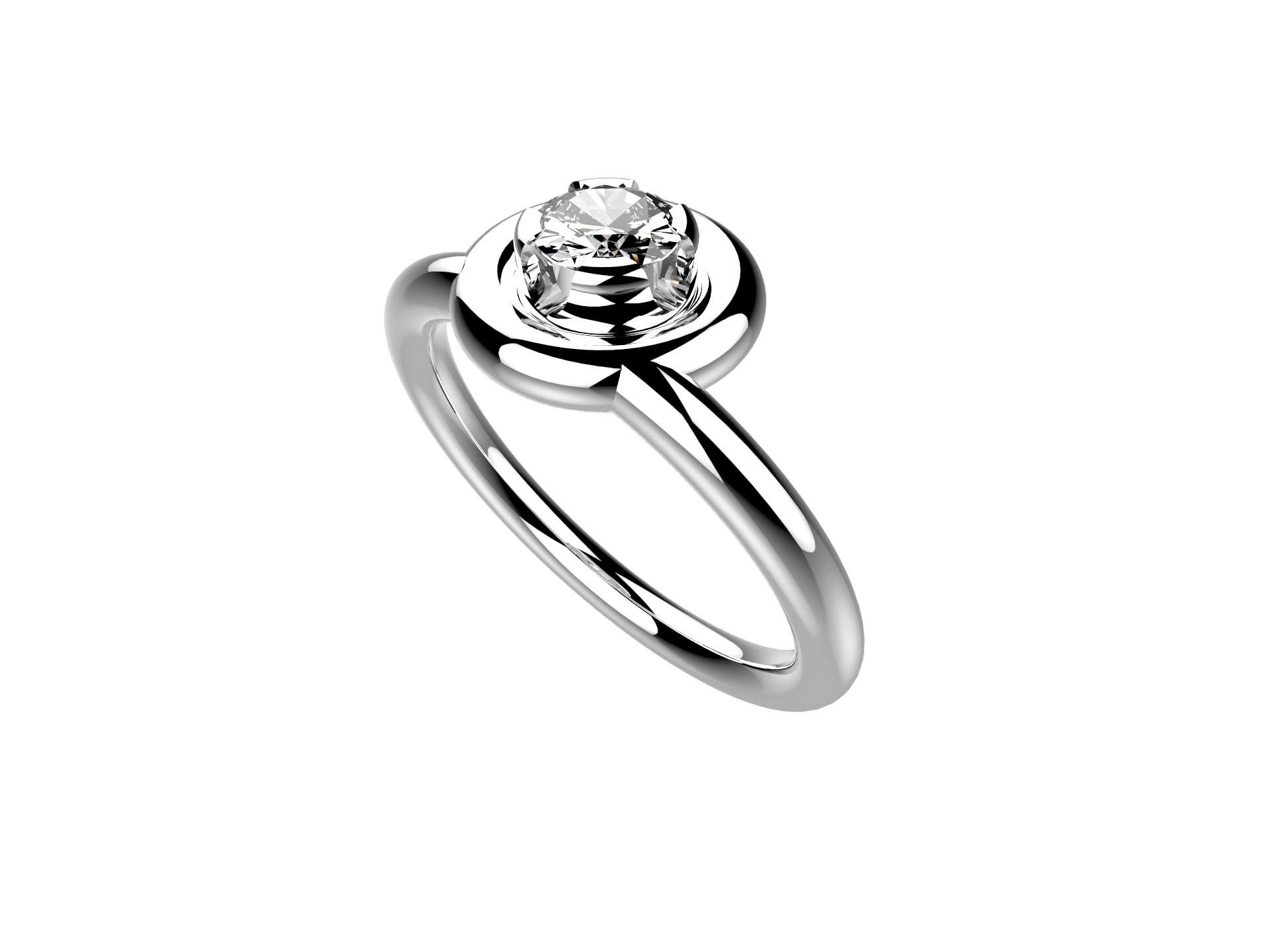 Solitaire or blanc diamant - 3900 €