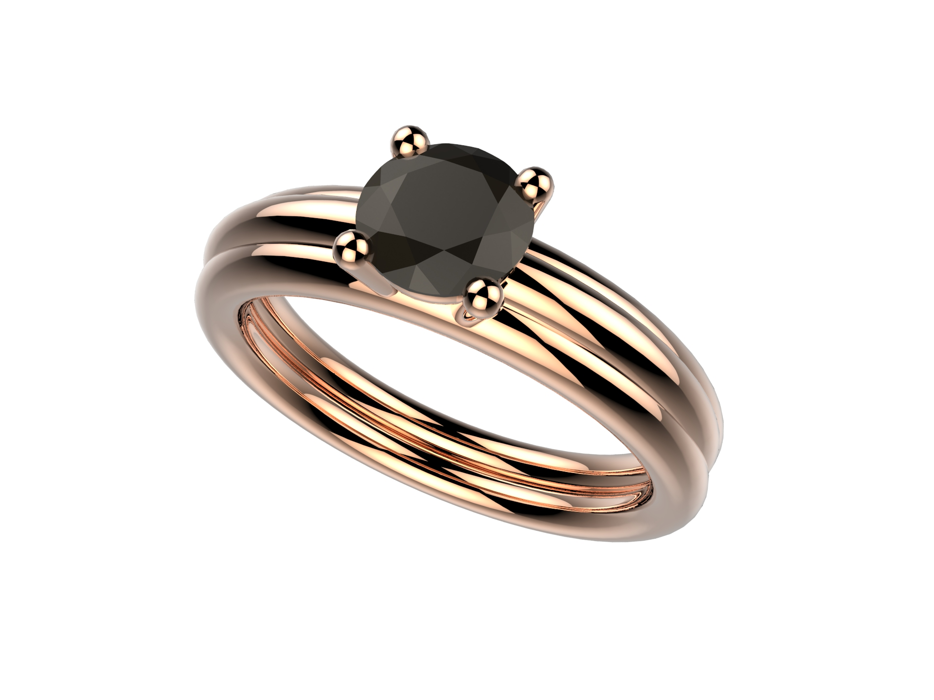 Bague or rose diamant noir 2200 €