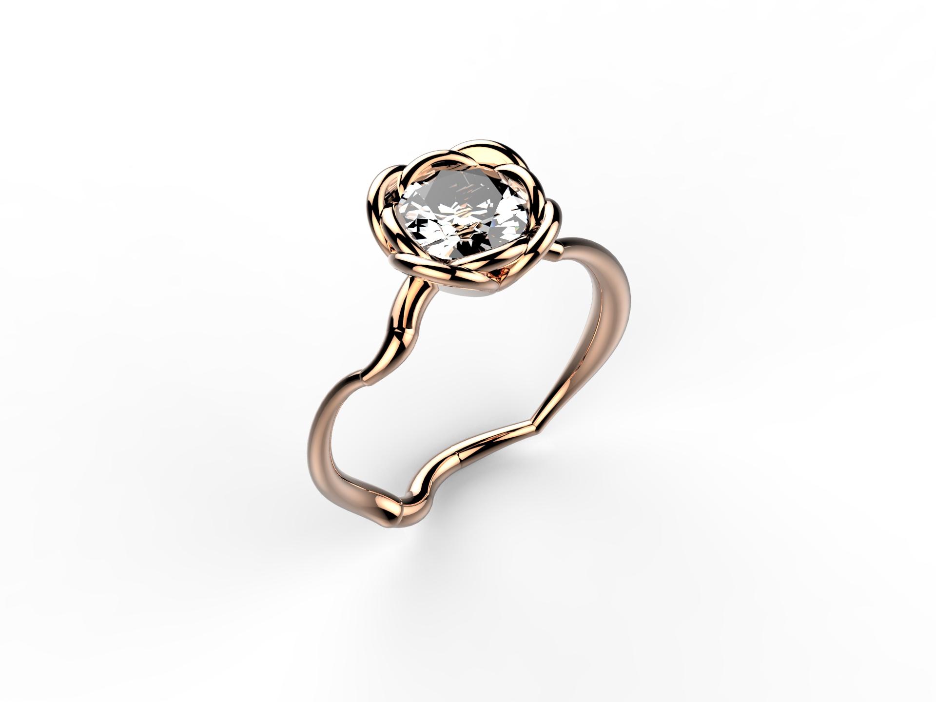 Solitaire or rose diamant - 8900 €