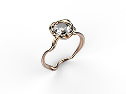 Solitaire or rose diamant - 8900 €