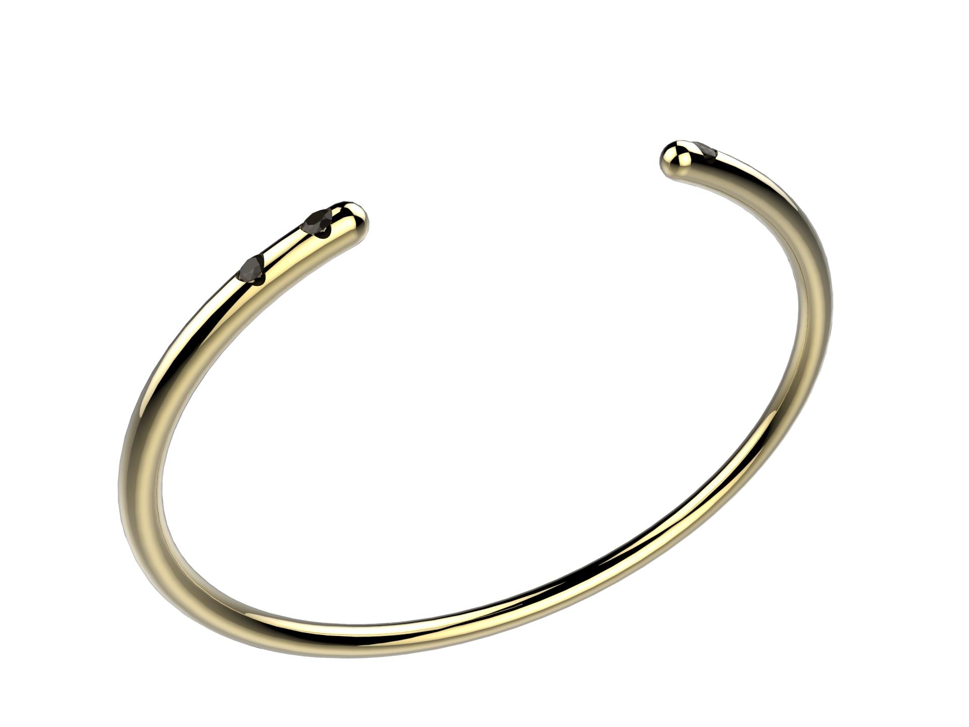Bracelet or jaune diam noirs 2170 €