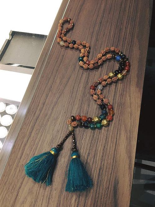Collier Balinais perles de Rudrashka et Agates