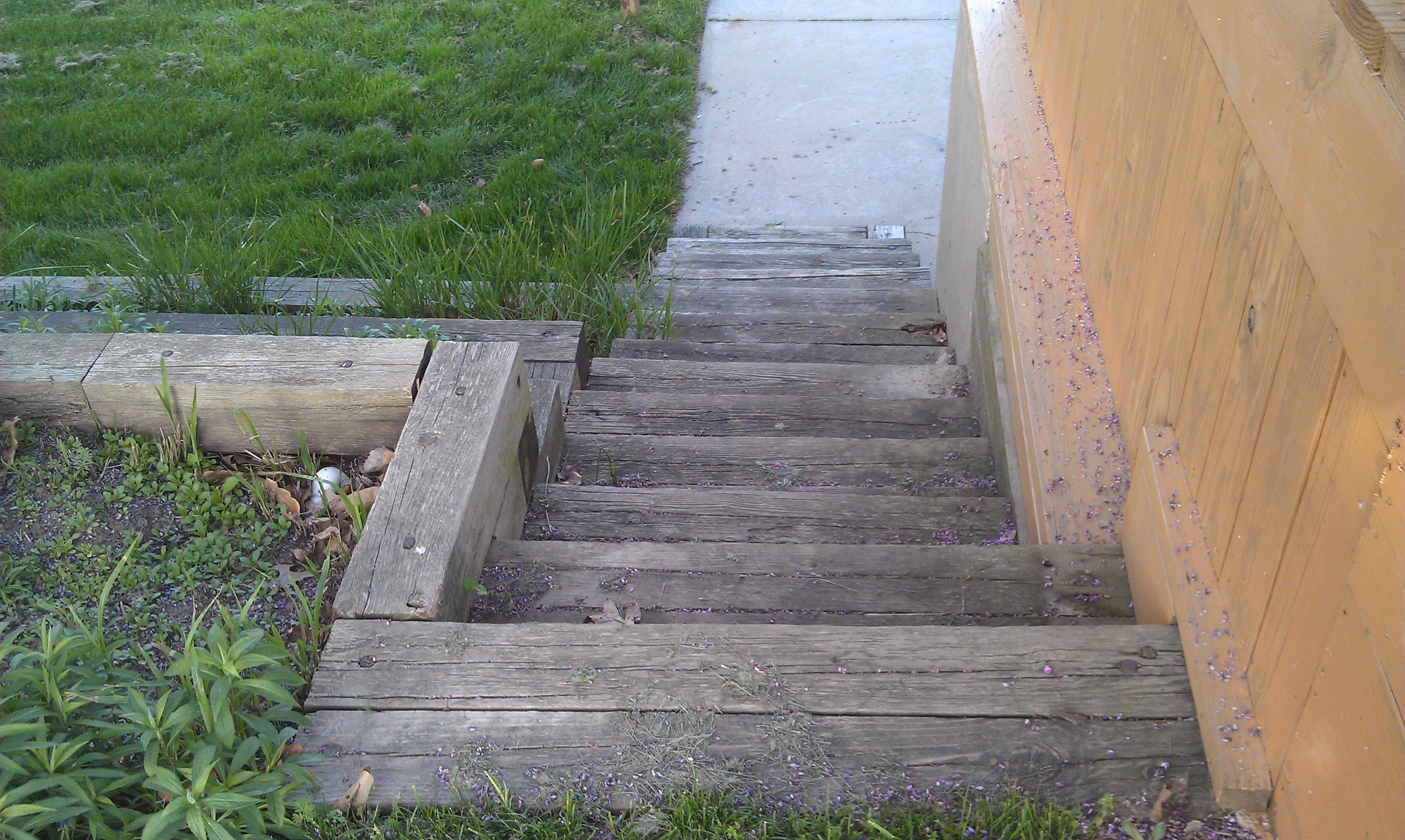 #10 before view of RR tie stairs