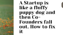 A Startup  is like a fluffy puppy dog and then Co-Founders fall out. How to fix it.