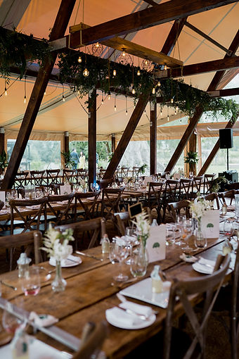 Rustic wedding marquee table set up