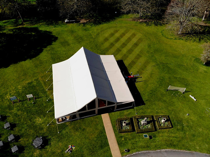 Aerial photo of the cruck tent