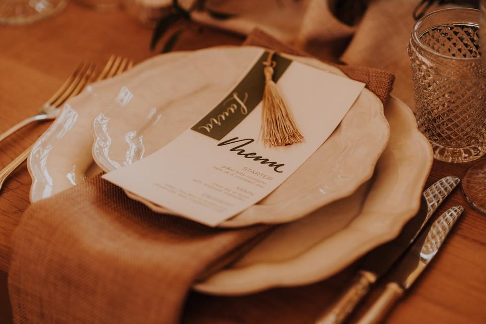 Vintage tableware on rustic tables
