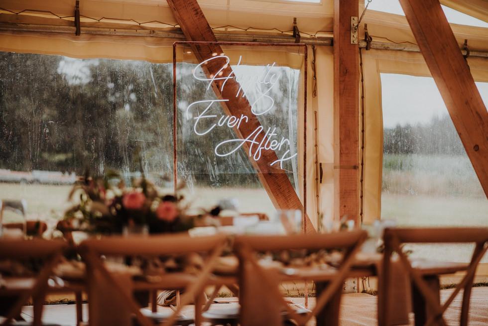 Neon signs on a wedding dance floor