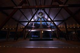 Cruck tent dance floor at night