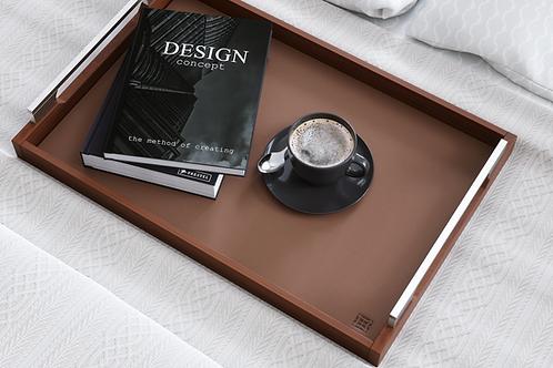 Genuine Leather & Wood Tray