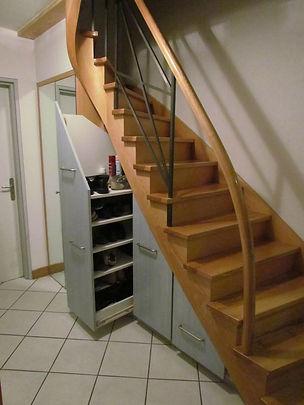 Agencement Sous Escalier Composé De 3 Tiroirs Coulissants