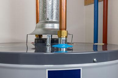 Closeup of natural gas or propane hot wa