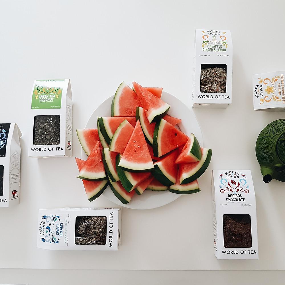 watermelon and tea