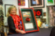 Framed ceramic memorial poppy