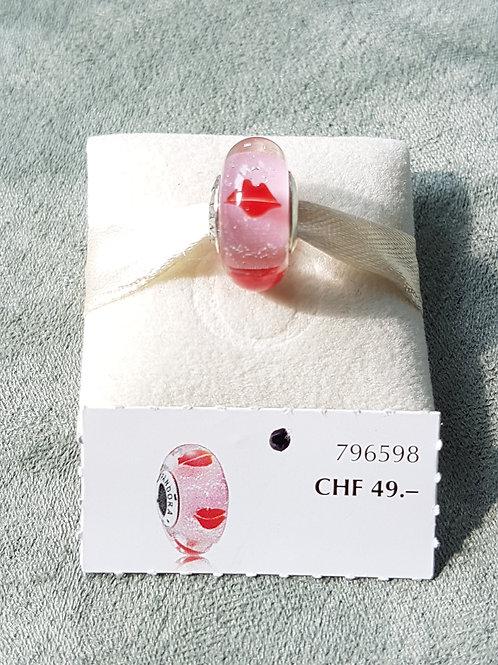 Murano,rosa klar, mit KussLippen, 925 SterlingSilber