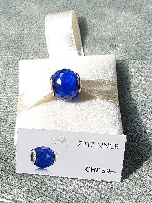 925 SterlingSilber , Charm mit blauem Zirkonia, facettiert