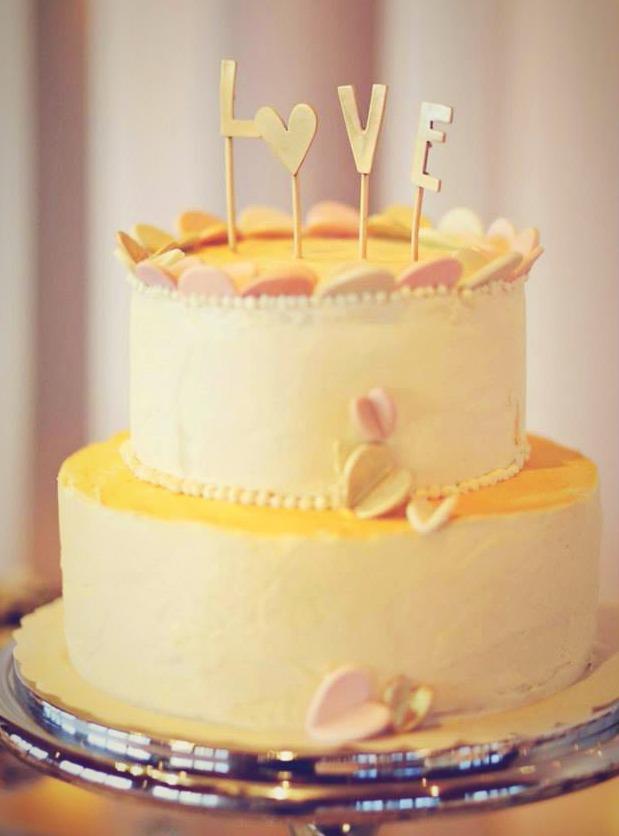 Pink Love Wedding Cake