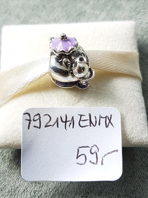 "Disney Kollektion ""Mme Pottine"", 925 SterlingSilber ,Emaille lila"