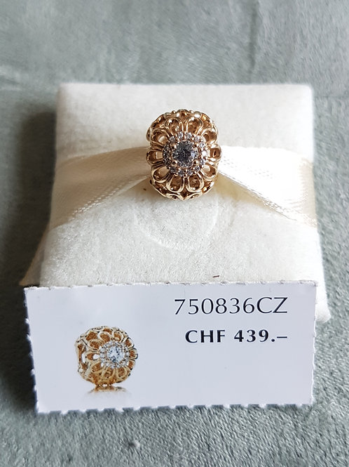 Pandora 14 karat Gelbgold Charm mit Zirkonia
