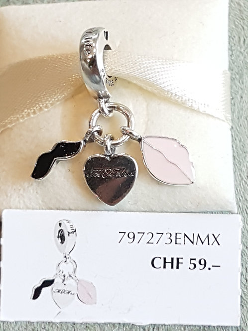 """""""Mr & Mrs"""" 925 SterlingSilber, mit Emaille rosa +schwarz"""