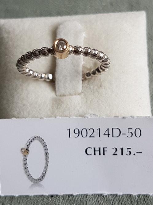 PandoraRing 925 SterlingSilber mit Diamant in 14kt Gold gefasst