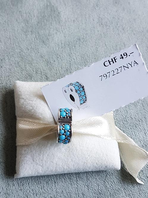 Pandora Clip mit türkisfarbigen Zirkonias, herzförmig