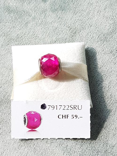 925 SterlingSilber, Charm mit pinkem Zirkonia, facettiert