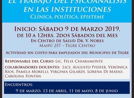 """Curso en Tigre: """"El trabajo del psicoanálisis: clínica, política, episteme"""""""
