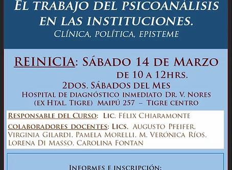 """Curso: """"El trabajo del psicoanálisis en las instituciones: clínica, política, episteme"""""""