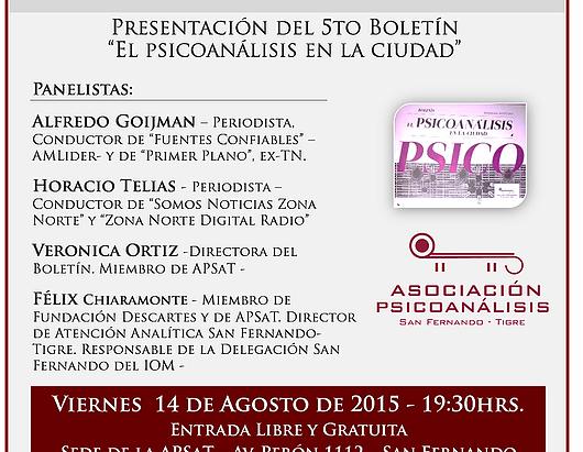 """CHARLA – DEBATE: """"El poder de las palabras en el psicoanálisis y los medios de comunicación II"""""""