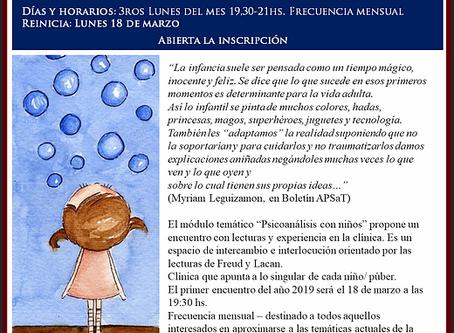 """Reinicio Módulo """"Psicoanálisis con niños"""""""