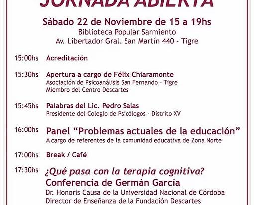 Jornada Abierta en Tigre y conferencia de Germán García