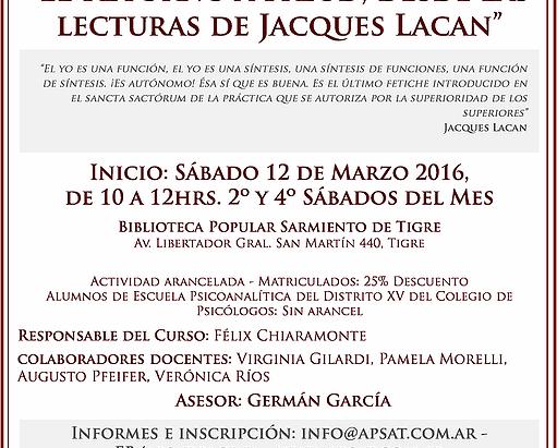 """CURSO: """"El Retorno a Freud, desde las lecturas de Jacques Lacan"""""""