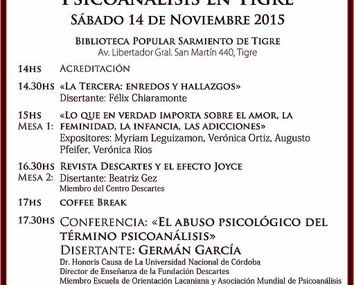 III Jornada de Psicoanálisis en Tigre- Conferencia de Germán García