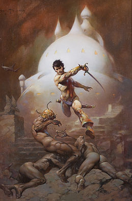 "This is an illustration by American artist Frank Frazetta which became the cover art for ""Swords of Mars,"" a science fantasy novel by Edgar Rice Burroughs.  Frazetta is considered the most important and influential artist in this genre since Virgil Finlay in the 1940s."