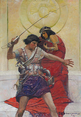"This artwork, by Frank Schoonover, is the cover illustration for Edgar Rice Burroughs' A Princess of Mars. Born in Oxford, New Jersey, Schoonover studied under Howard Pyle at the Drexel Institute in Philadelphia and became part of what would be known as the Brandywine School. Schoonover was a prolific contributor to books and magazines during the early twentieth century, the so-called ""Golden Age of Illustration."""