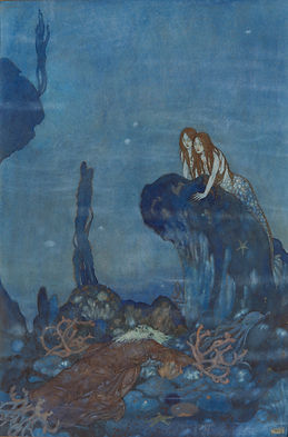 "This image, by illustrator Edmund Dulac, depicts Ariel from ""The Little Mermaid.""  Dulac is best known as an illustrator of gift books and children's books. His favorite medium was watercolor. From 1890 to 1920, British book illustration was preeminent and Dulac's career flourished."
