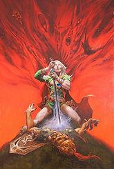 michael whelan artist, michael whelan original artwork, elric viii, micharl moorcock, elric of melnibone, elric saga, cover artwork, weird of the white wolf