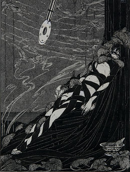 "This illustration by Harry Clarke accompanied Edgar Allan Poe's classic tale ""The Pit & The Pendulum"" which appeared in ""Tales of Mystery and Imagination"" (1919)."